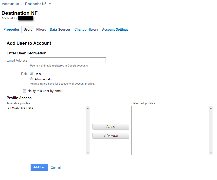 Adding admins to Google Analytics