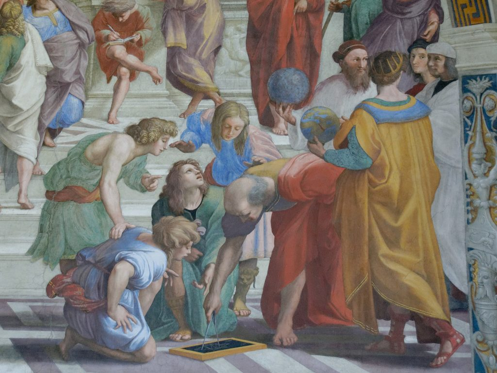 Euclid discussing science in the School of Athens by Raphael